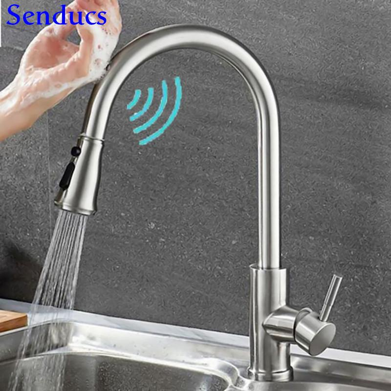 Touch Mixer Tap Senducs Pull Down Sensor Kitchen Faucet Quality Brass Touching Bathroom Basin Faucet Automatic Kitchen Faucets T200424