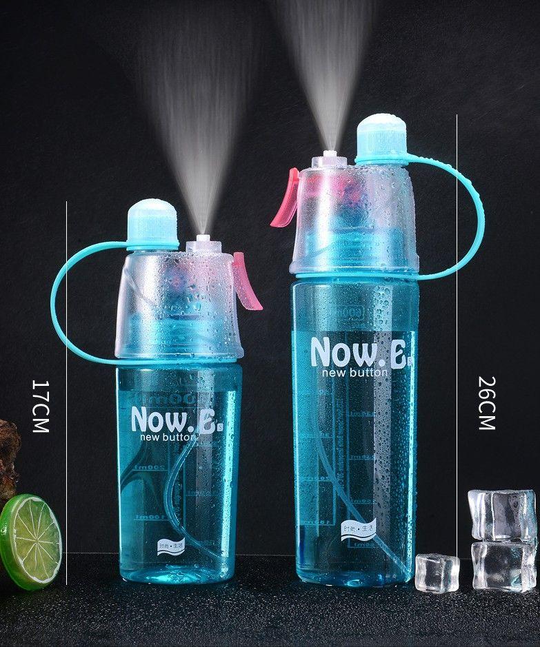 600мл Mist Spray бутылки воды 20oz Портативный бутылки воды Спорт Anti-Leak Питьевая Кубок с бутылками Mist Гидратация Пластиковые Водных