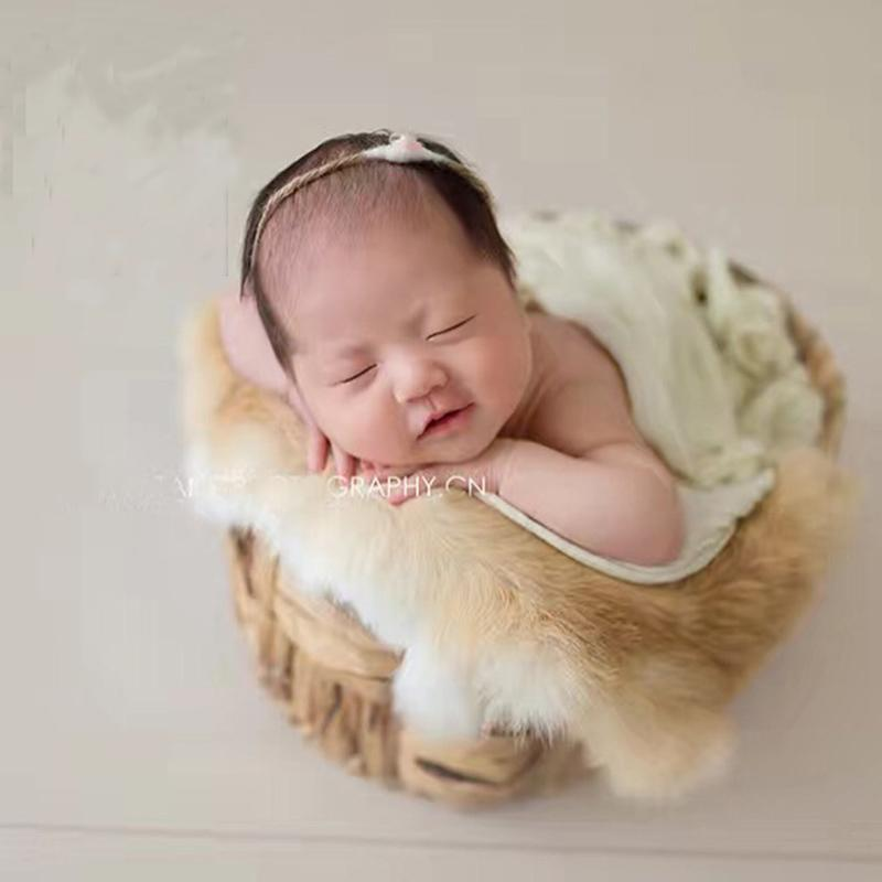 Newborn Photography Props Faux Fur Baby Photo Shoot Backdrop Fabric Posing Basket Filler fotografia Accessories