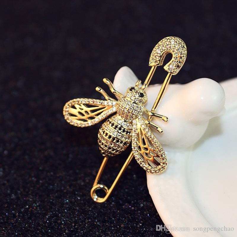 Новый дизайн моды леди пчелы брошь темперамент роскошный бриллиант брошь тенденции моды брошь шарф пряжки дамы аксессуары одежды
