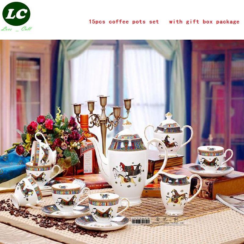 De café de cerámica / TEA POTS CONJUNTO CON EL REGALO CAJA DE PAQUETE DE LUJO 15PCS POTS casa de té LECHE porcelana pote