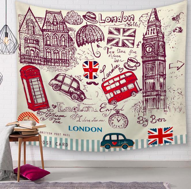 Vintage I Love London Decor 태피스트리 욕실 야외 태피스트리 벽 교수형 시트 피크닉 천으로 홈 데코레이션 식탁보