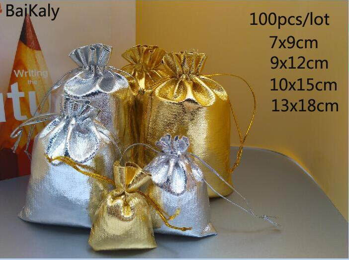 100pcs/lot Gold silver Foil Organza Bag Favor baby Candy Gift Bags Wedding Party Favor Pouch Christmas Decoration Packaging Bags