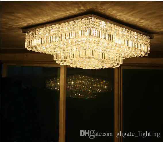 Salon Yatak odası için L60 / 70 / 80cm Modern Kristal Kare Tavan Avize Lambası Işık Aydınlatma Şeffaf Su damlacıkları