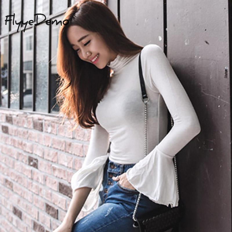 Women's T-Shirt 2021 Spring Fashion Solid Colors Women T-shirts Long Flare Sleeve Slim Turtle Neck White Balck Shirts Tops High Quality