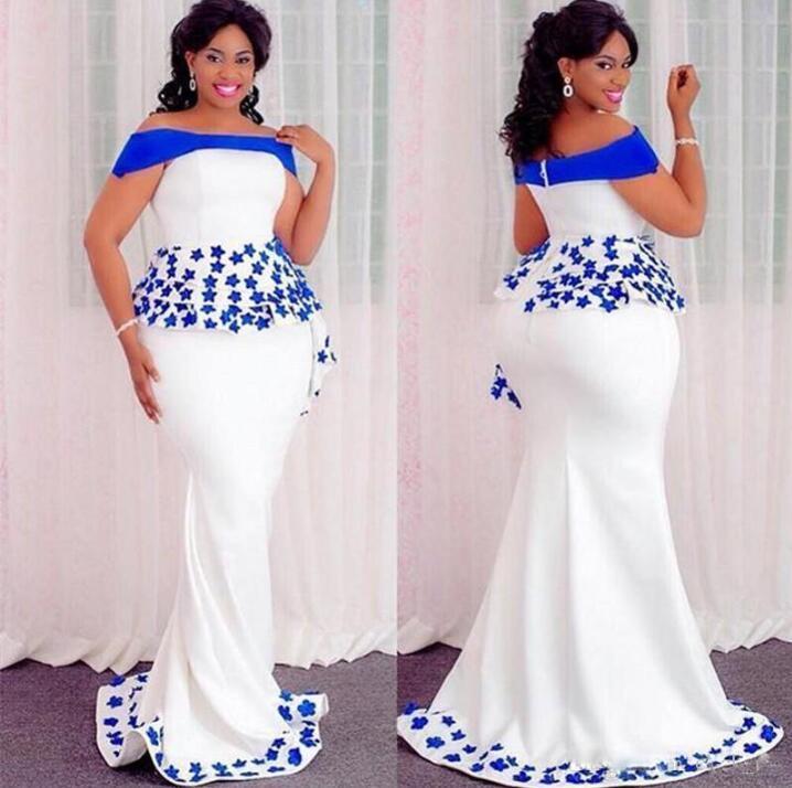 Applique Prom Dresses abiye Mermaid Plus Size Evening Gowns robe de soiree vestido longo Custom Made Off Shoulder Evening Dress