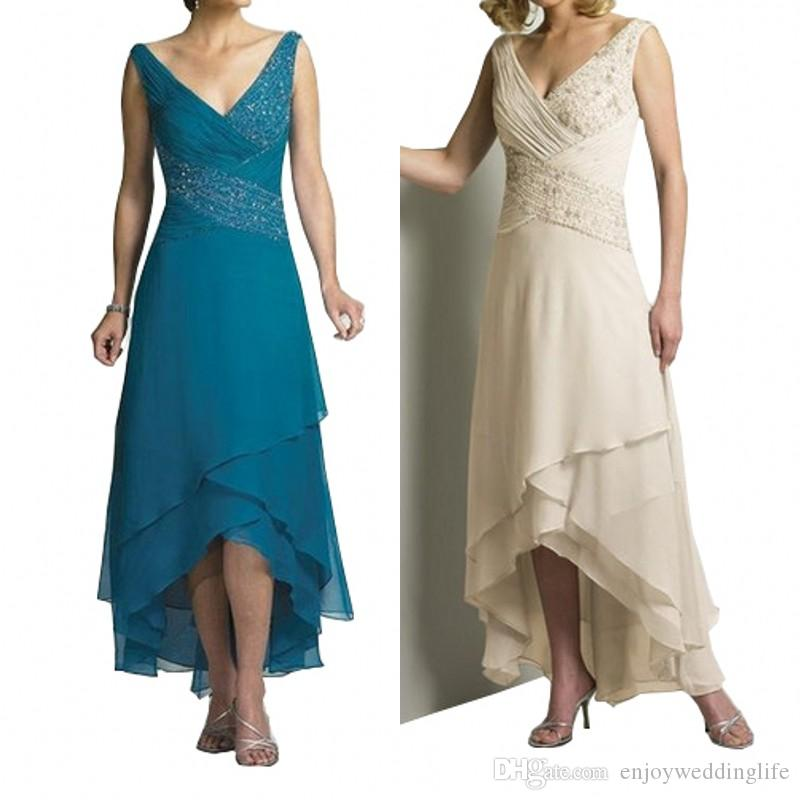 Chiffon Mother of the Bride Dresses With Jacket Tiered V-Neck Criss-Cross Pleat Turquoise Cream Hi-Lo 2020 Wedding Party Gown