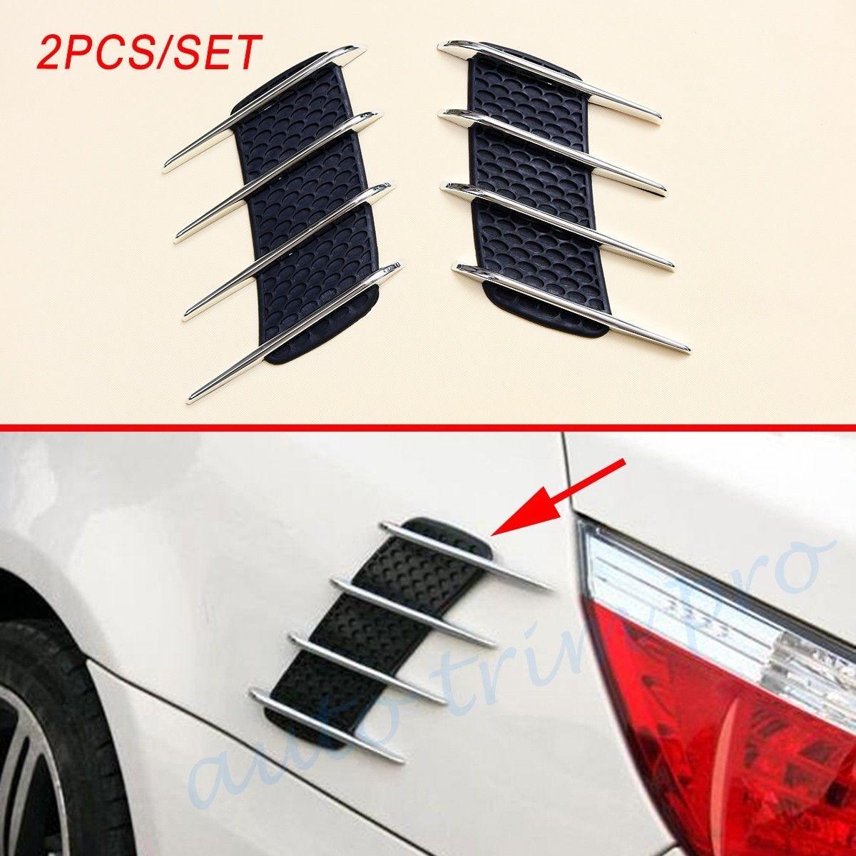 Corpo dell'automobile del veicolo Coppia Chrome Auto Accessori Porte Edge Side Grille netto Fender Air Vent Cover Flow Decorare Ala