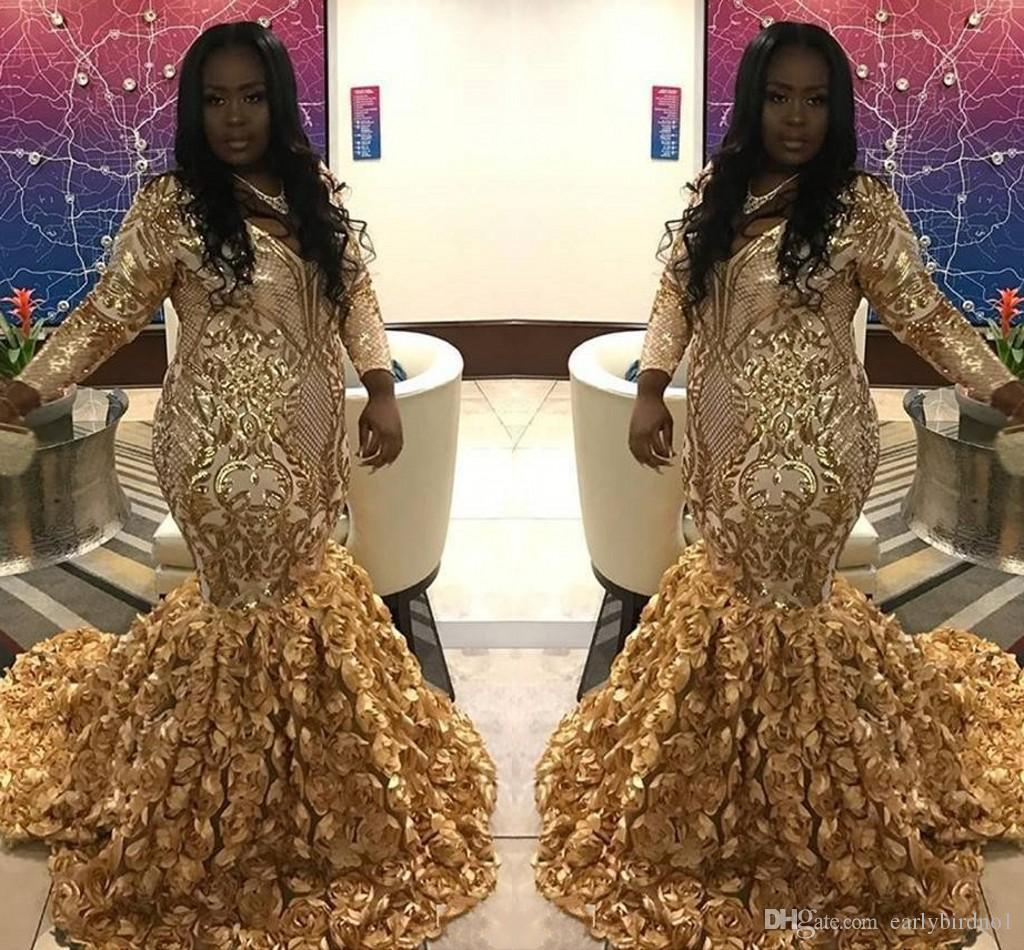 2019 New Design Plus Size Prom Dresses With Rose Flowers Gold Lace Long  Sleeves V Neck Party Evening Gowns Formal Dresses Shop Prom Dresses Short  ...