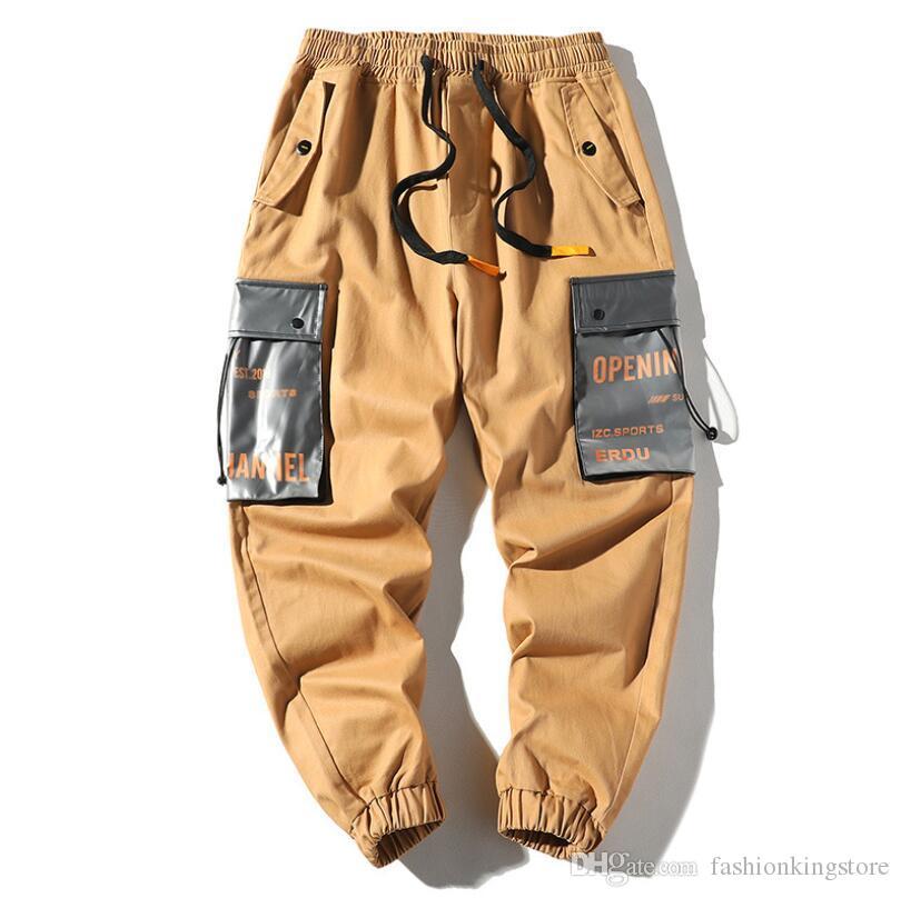 Mens Pants Street Wear Hip hop Pockets Joggers Cargo Pants Men Track Trousers Camouflage Mens Khaki Camo Pants w57