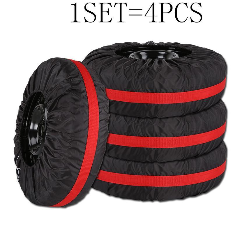 4pcs /Lot Car Spare Tire Cover Case Polyester Auto Wheel Tires Storage Bags Vehicle Tyre Accessories Dust -Proof Protector