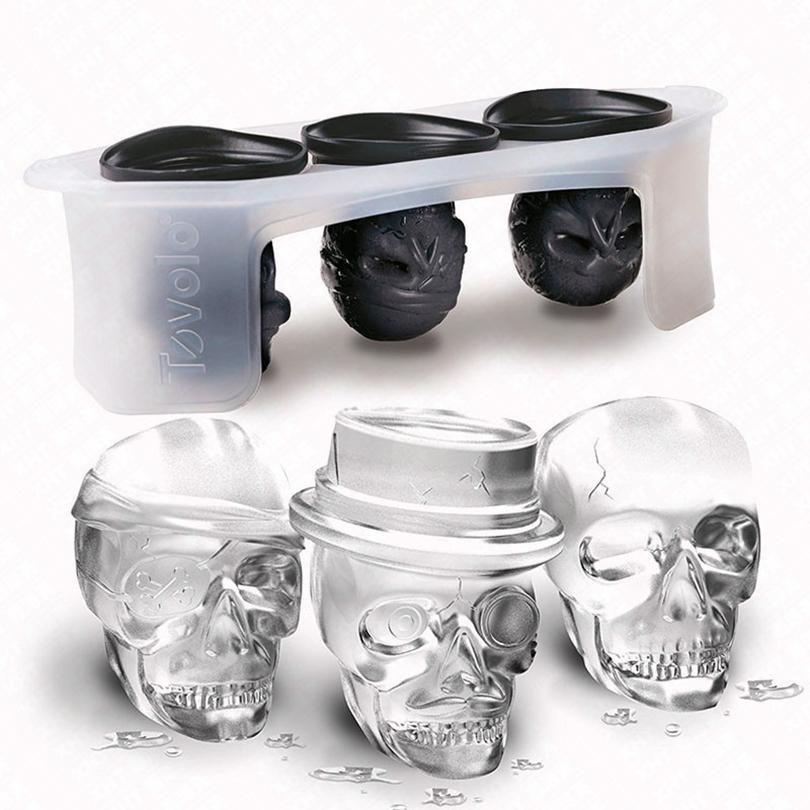 New Design One Set Skull Head Shaped Silicone Ice Mold Whiskey Cocktail Ice Ball Maker Large Ice Cubes