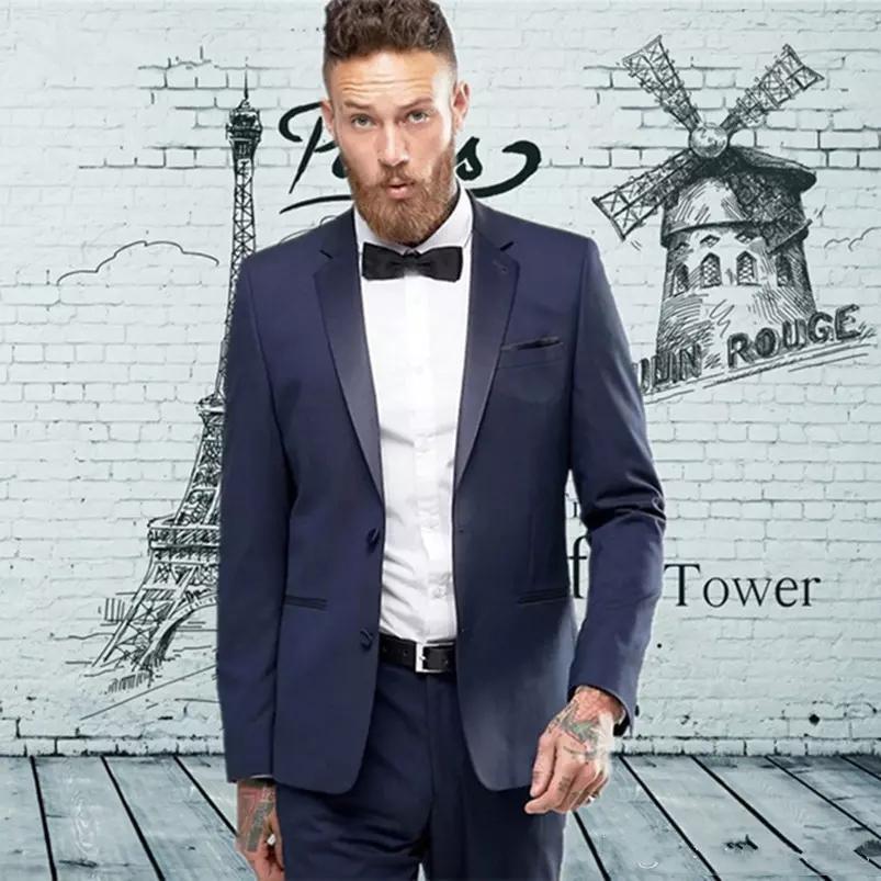 Новый Пользовательский Темно-Синий Slim Fit Мужчины Костюмы Свадебные Смокинги Пром Одежда Женихи Костюмы Лучший Человек Blazer 502