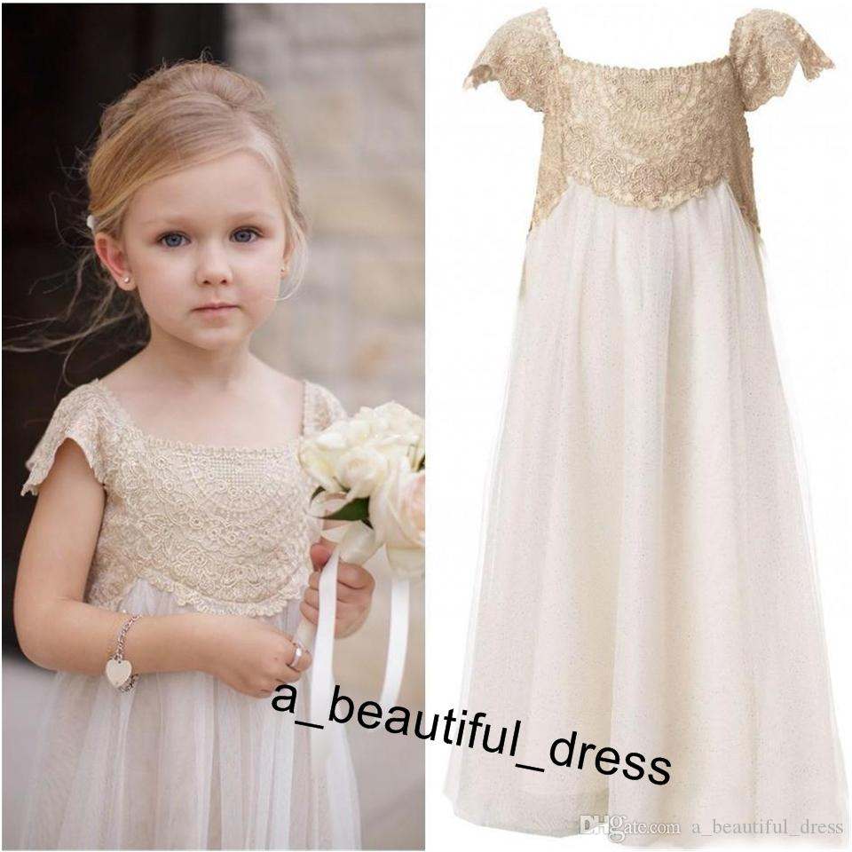 Flower Girl Dresses for Bohemian Wedding Cheap Floor Length Cap Sleeve Empire Champagne Lace Ivory chiffon First Communion Dresses FG1262