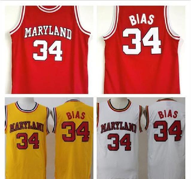 Universitaria 34 Len Bias Jersey Hombres Baloncesto 1985 de la Universidad de Maryland Terps camisetas del equipo Rojo Blanco Amarillo Lejos Mejor cosido