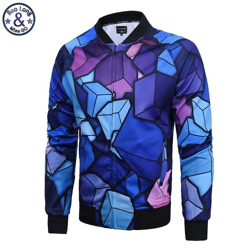 El Señor BaoLongMiss.GO nuevos hombres Harajuku estilo 3D patrones geométricos impresión empalme cremallera chaqueta abrigo M-XXXL