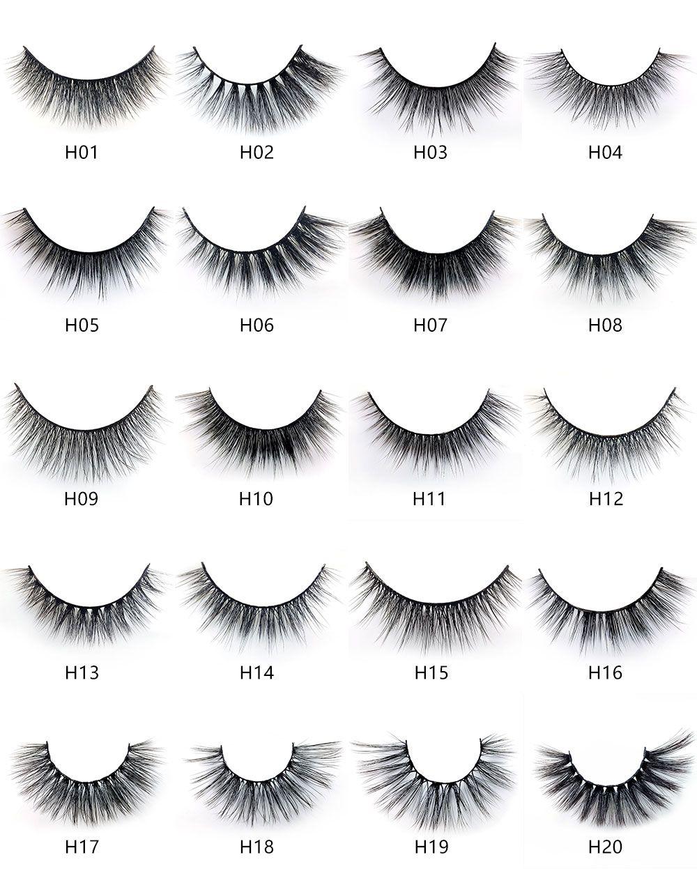 Serie H 20 estilo 5 pares / set visón 3D False EyeLashes 5 pares 3D pestañas falsas largas naturales
