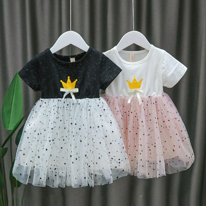 2020 Verão vestido bebê meninas infantil Crianças Crown malha vestidos de noiva recém-nascido Roupa Patchwork Princesa vestido de festa 0-24M