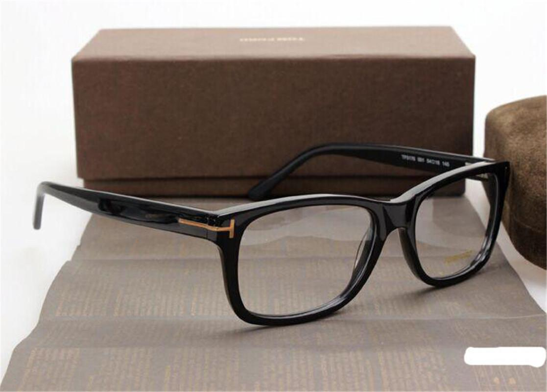الرجال النظارات البصرية الإطار توم 5176 العلامة التجارية مصمم اللوح إطار نظارات إطار كبير للنساء الرجعية قصر النظر النظارات إطارات مع عدسة واضحة