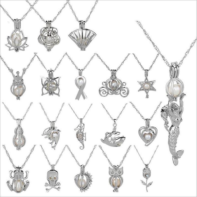 Cage Pendentif Collier New Love Rêves de perles naturelles avec perle Oyster Design Mix creux mode Médaillon Clavicule chaîne Collier gros
