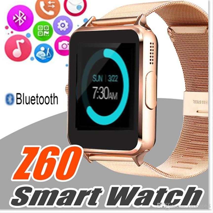 DHL Bluetooth Smart Watch Phone Z60 Supporto in acciaio inossidabile SIM TF Card Camera Fitness Tracker GT08 DZ09 Smartwatch per IOS Android