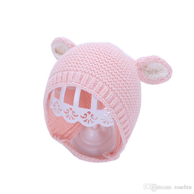 Baby hat winter children's wool hat boys and girls earmuffs warm children's head cap