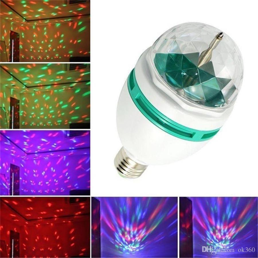 3W E27 RGB إضاءة مصباح اللون الكامل LED كريستال ضوء المرحلة السيارات الدوارة المرحلة تأثير DJ مصغرة المرحلة ضوء لمبة