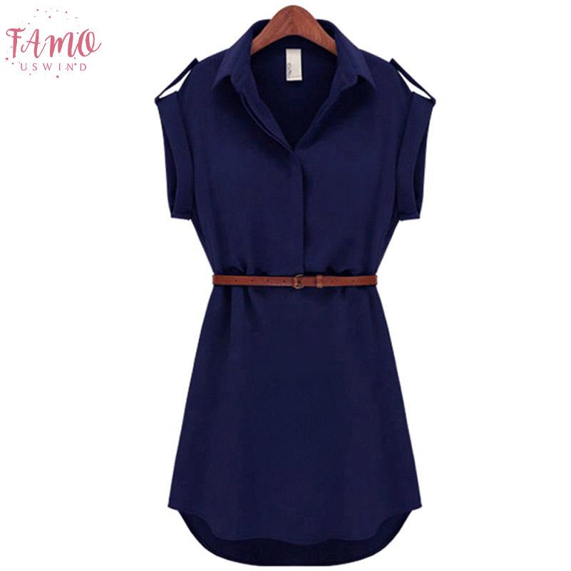 Yaz Moda Kadın Kısa Kollu Stretch şifon Casual Ol Kemer Mini Elbise Doğal Üstü Diz / Mini vestidos