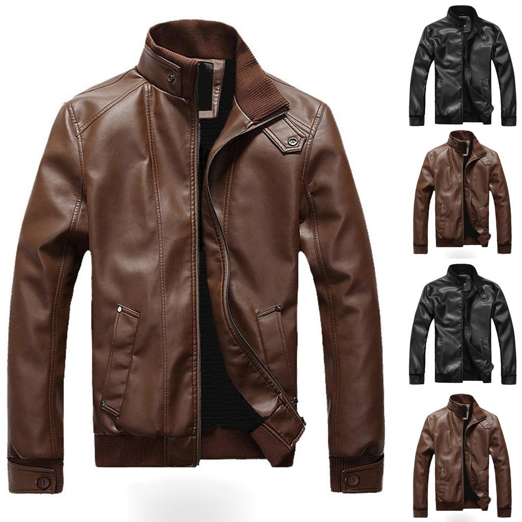 Mens Casual Jackets Coats Men Winter Leather Jackets Men Leather Biker Motorcycle Zipper Long Sleeve Coat Top Blouses jaqueta