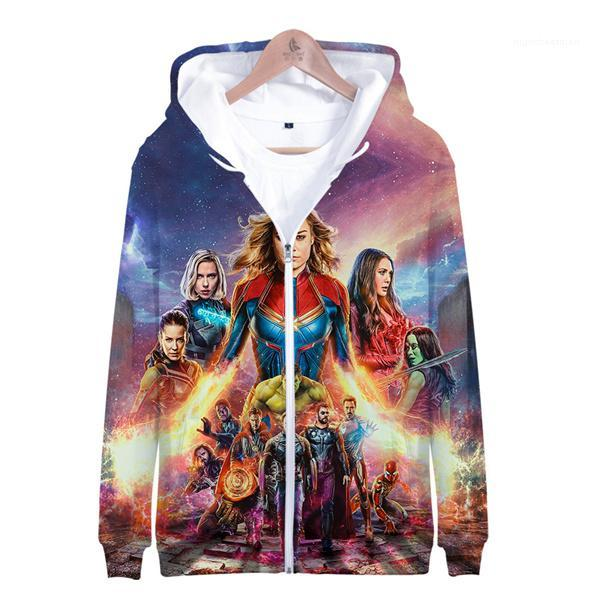 3D Printed Cartoon Sweatshirts Mens Tops For Shipping Avengers Endgame Mens O-Neck Hoodies Spring And Autumn Zipper