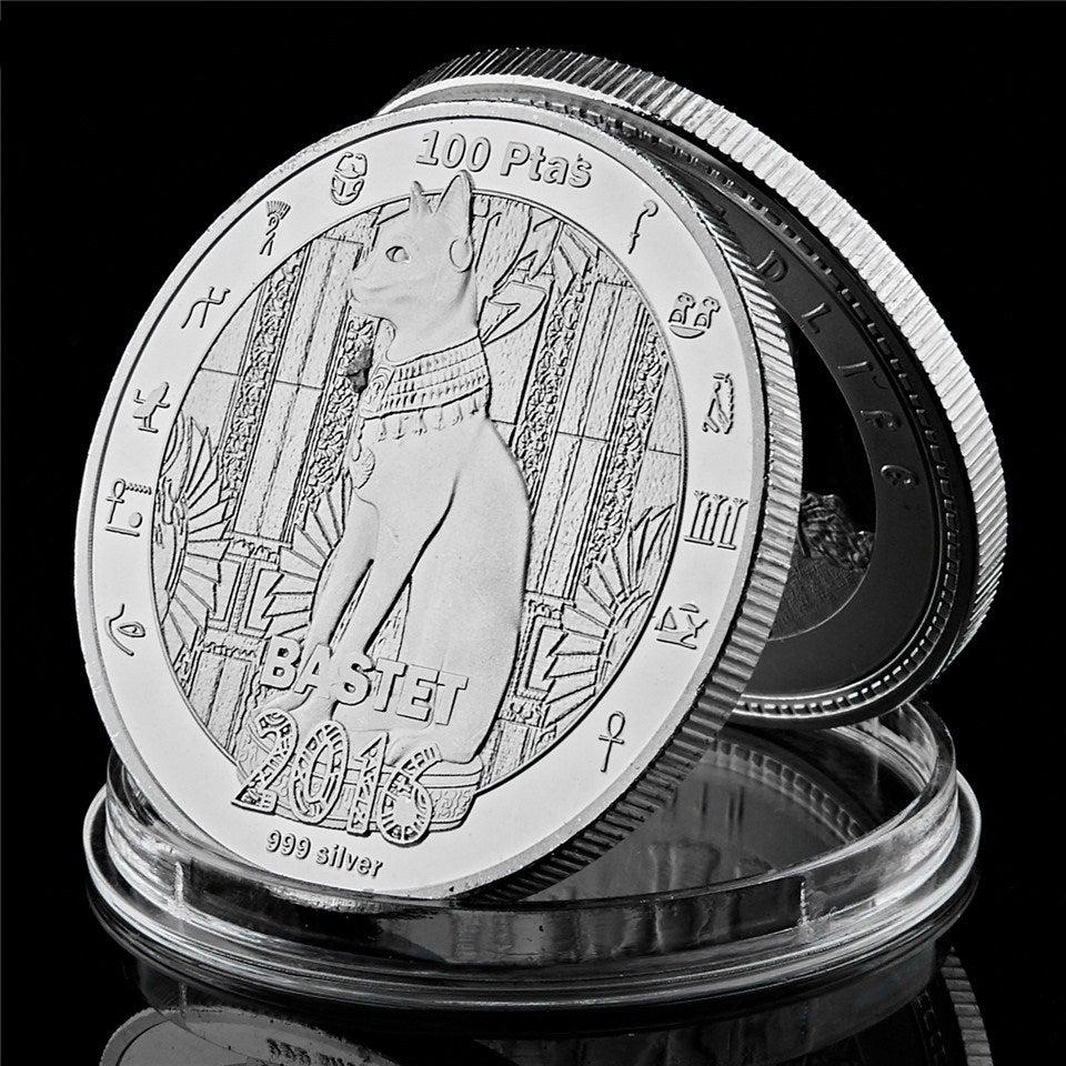 2016 Egyptian Mythology Cat God Bastet Commemorative Coin 999 Silver 100 Ptas Coins Collectibles Medal Metal