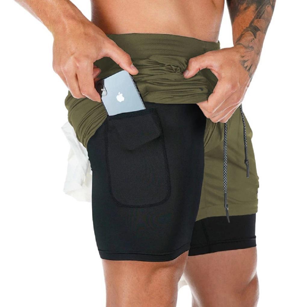 Мужские 2 в 1 Запуск шорты тренировки Обучение Gym Quick Dry Bodybuliding Спортивный Короткие Jogger с карманами