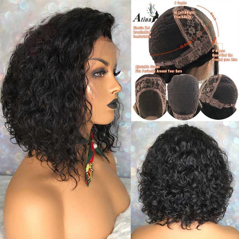 Ricci dei capelli umani parrucca corta Pixie Cut Bob 4X4 chiusura del merletto parrucca Pre pizzico Con capelli del bambino 150 Densità Atina brasiliano Remy anteriore