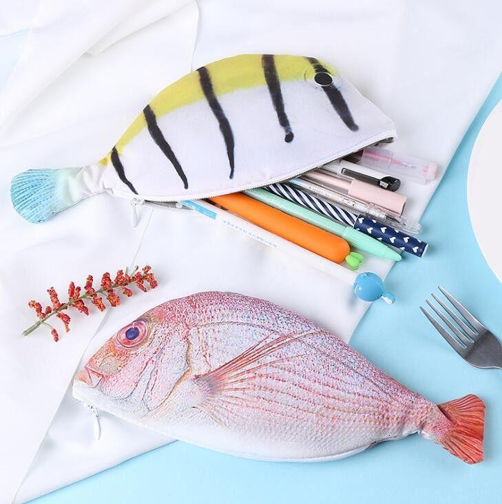 1 STÜCK Fisch Form Federmäppchen Kawaii Korea Stil Tuch Bleistifte Taschen Schulbedarf Schreibwaren Federmäppchen Halter
