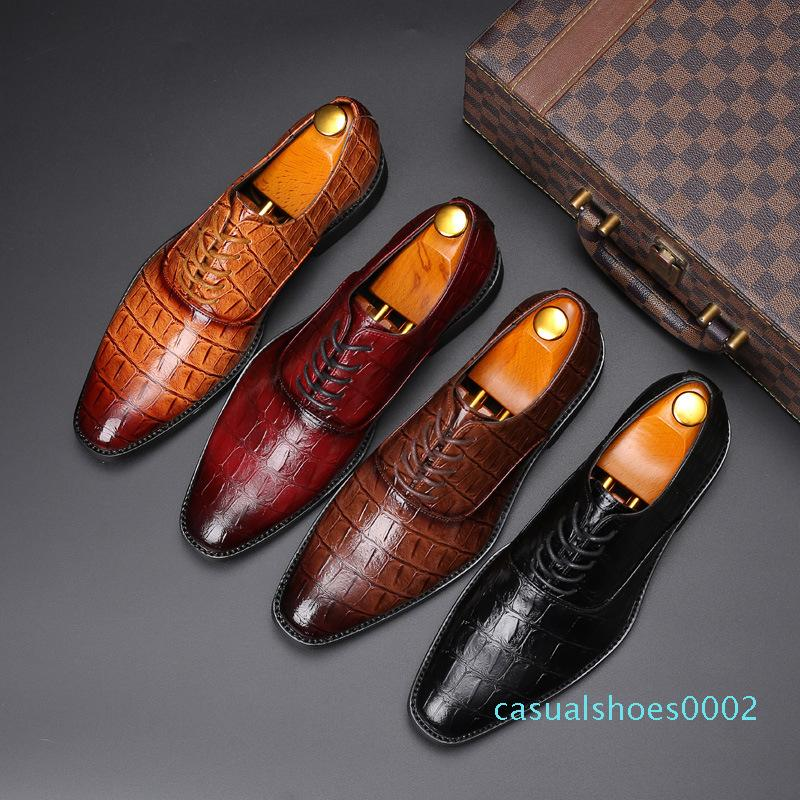 2020 Luxe Chaussures en cuir Robe Homme Plus Size 38-48 Chaussures à lacets en cuir décontractée Hommes mariage formel Chaussures plates c02