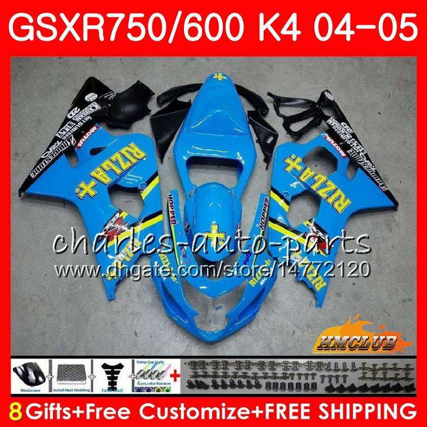 Bodywork RIZLA blue hot For SUZUKI GSXR 750 GSX R750 GSX-R600 GSXR600 04 05 7HC.30 GSXR-750 GSXR 600 04 05 K4 GSXR750 2004 2005 Fairing kit