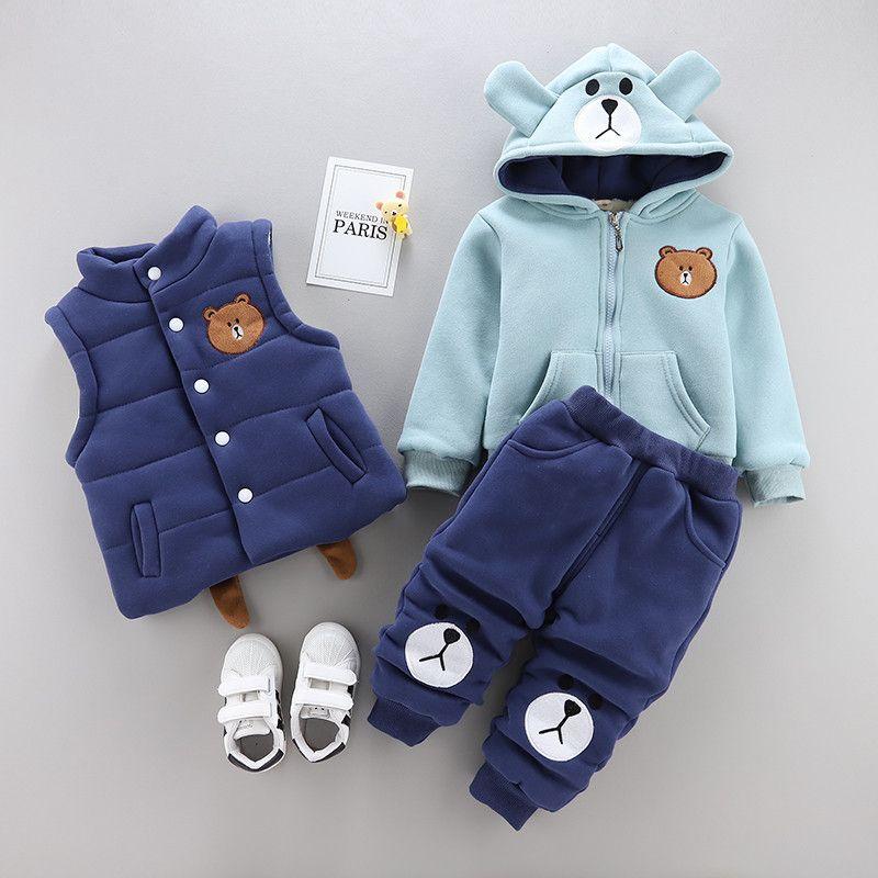 0-4 anos de roupas menino do inverno da menina set 2019 nova moda casual quente garoto engrossar terno crianças roupas de bebê colete + casaco + calça 3pcs LY191227
