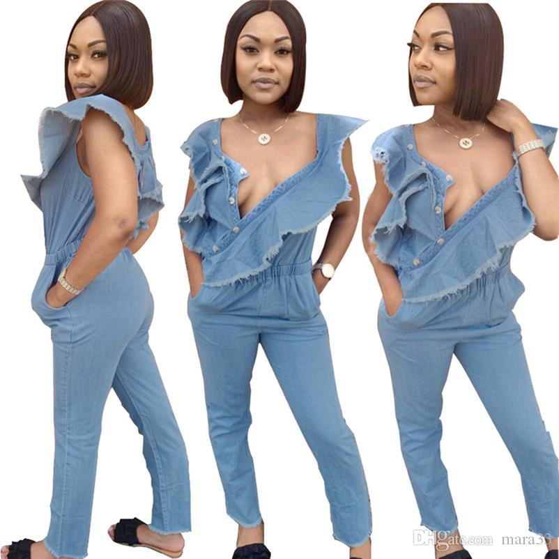 Women summer denim Jumpsuits & Rompers fashion stylish washed Ruffle sleeveless full-length pants bodycon leggings natural solid color 526