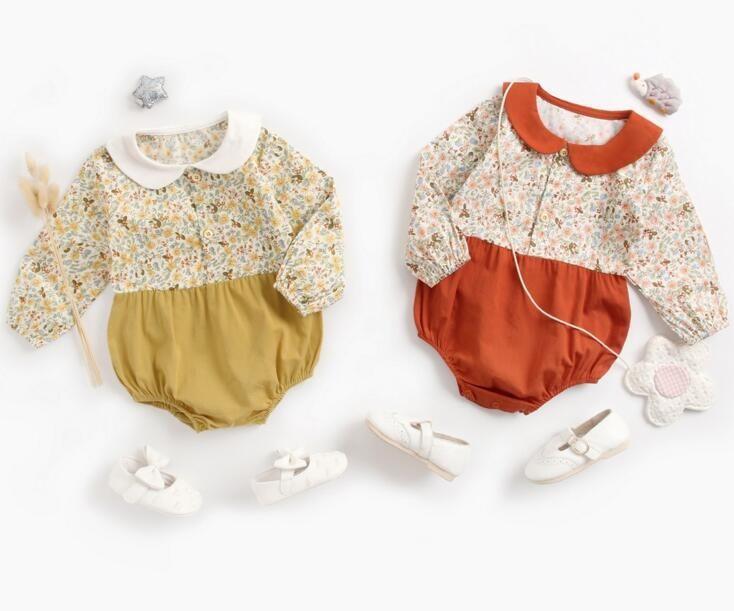 Ins Детская одежда Весна Осень 100% хлопок ползунки Кастрюля Pet Воротник Цветочный принт с длинным рукавом Девушка ползунки Baby cuasual одежда