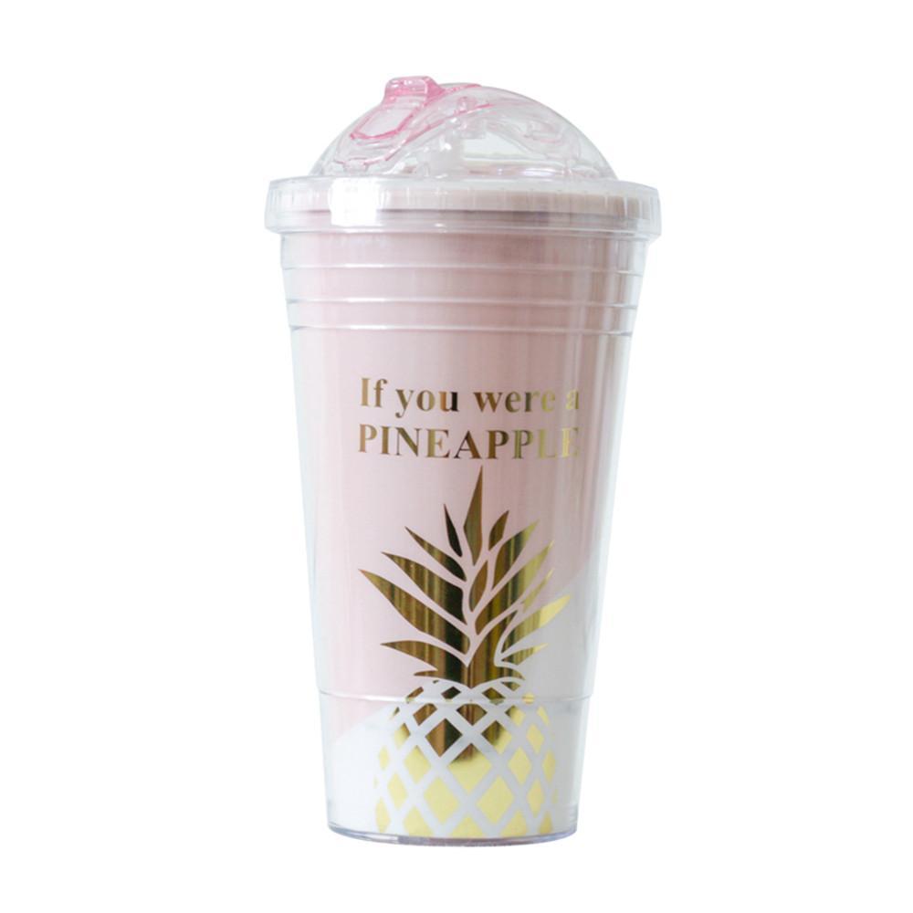 Garrafa criativo canecas BPA plástico água-de-rosa Abacaxi Padrão Viagem Straw portátil Tea Milk Cup Copos 420ml