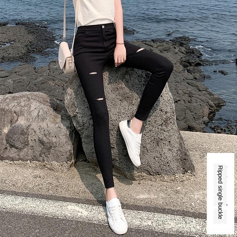 mgb2J pantolon sıkı Kadın Kat aşınma tozluk 2020 siyah ilkbahar ve sonbahar dış sıkı ince yüksek bel streç ayak bileği uzunlukta vCyNK pantsripped