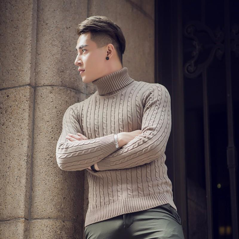Мужские свитера осень зима толстый теплый кашемировый свитер мужчины водолазка Мужские свитера Slim Fit пуловер мужчины трикотаж двойной воротник