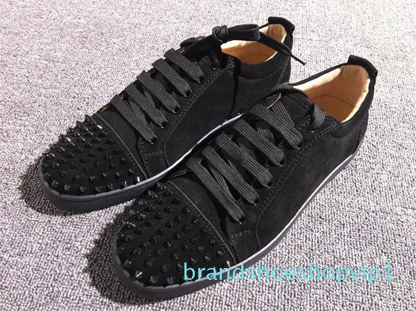 Designs Chaussures de Spike génisse Junior Mix Low Cut 20 Red Bottom Sneaker Party Luxe Chaussures de mariage véritable Spikes en cuir à lacets Chaussures Casual s2