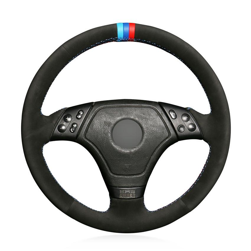 المخاطة يدويا الأسود الجلد المدبوغ مكافحة زلة لينة الغلاف مريحة عجلة قيادة السيارة للBMW E36 E46 E39