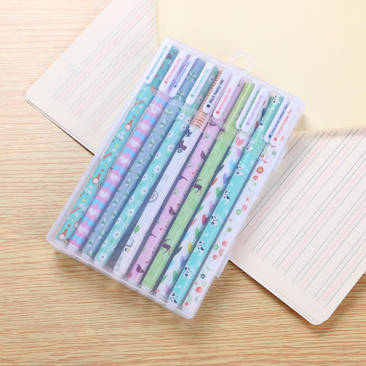 10 Colors 0.38 mm gel pens set creative Cute Kawaii Stationary Pen for student School Office Stationery Supplies Wholesale