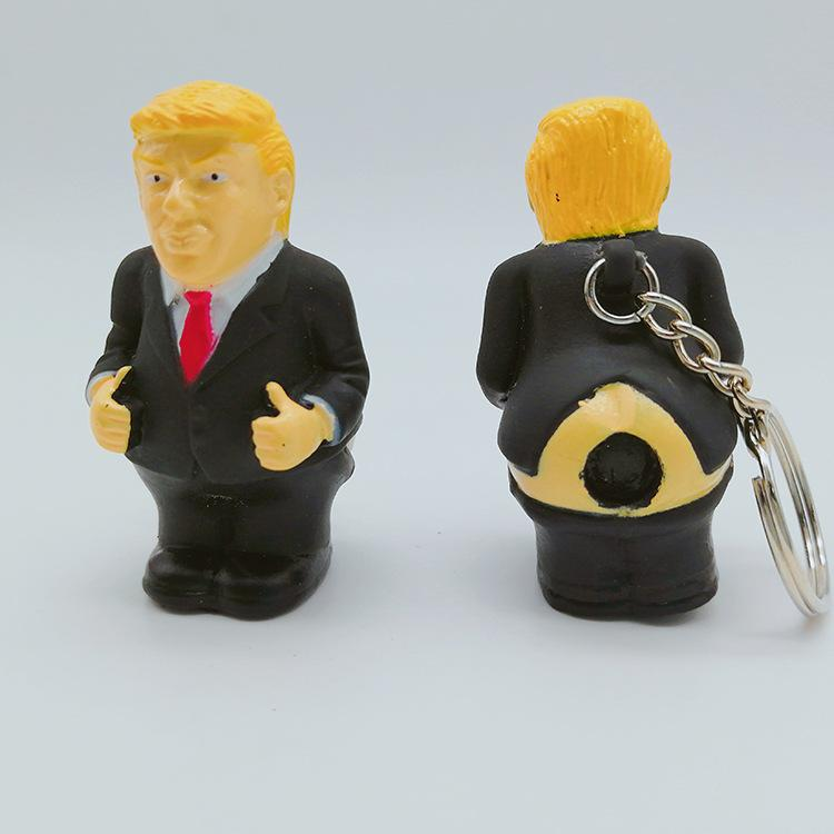 Novelty Donald Trump Poop Keyring Soft Silicone President Squeeze Key Chain Gift