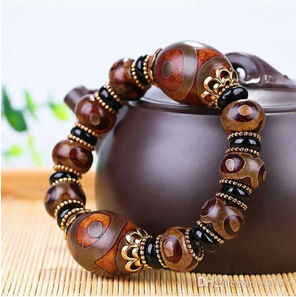 Esplosione in stile etnico 2019Old tibetano perline Dzi Bracciale Drop Shipping Great Quality Tre occhi Dzi Beads pietra naturale giada gioielli