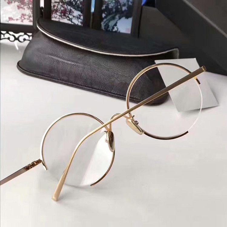 2020 Qualité LF218 rétro-cru gushhi verres des lunettes de prescription de métal rond femelle demi-jante châssis de caisse pleine-ensemble