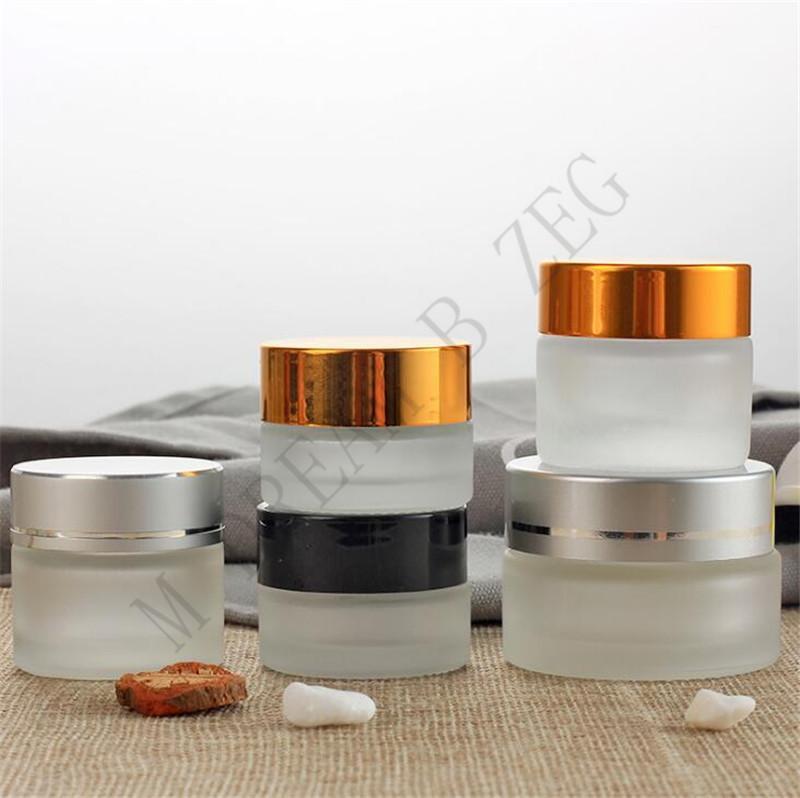 3 cores de vidro vazio de creme 5/10/15/20 / 20/30 / 50g Cosmetic Cream Cream Frasco Cosmetic Garrafa Recipiente Refil Makeup Ferramenta