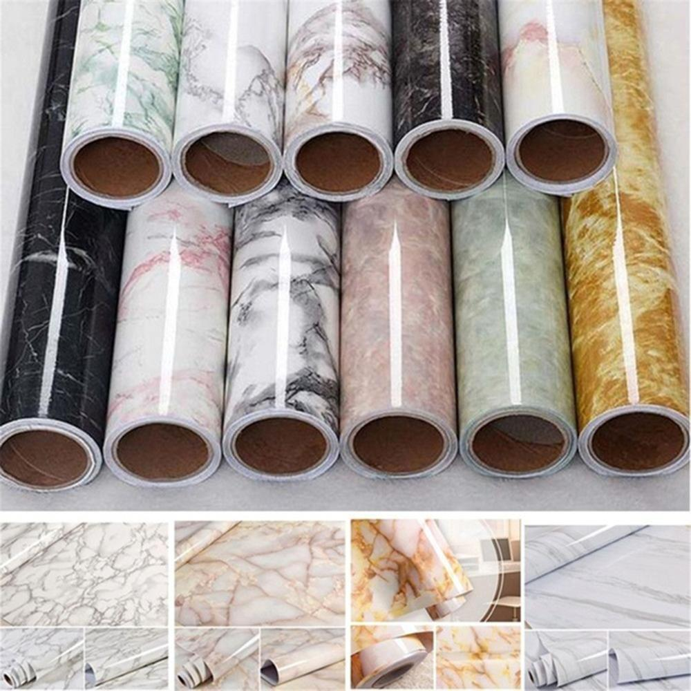 60 * 100cm pegatinas patrón de PVC imitación mármol impermeable autoadhesiva ventana de fondo de pantalla armario alféizar de la mesa de gabinete de actualización